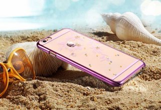 Flowery Rose Pink Crystals from Swarovski per iPhone 6 Plus