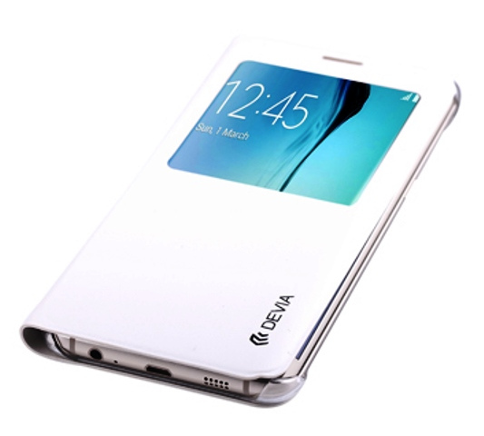 Cover Samsung S6 Edge+ Plus con Finestra Touch Colore Bianca