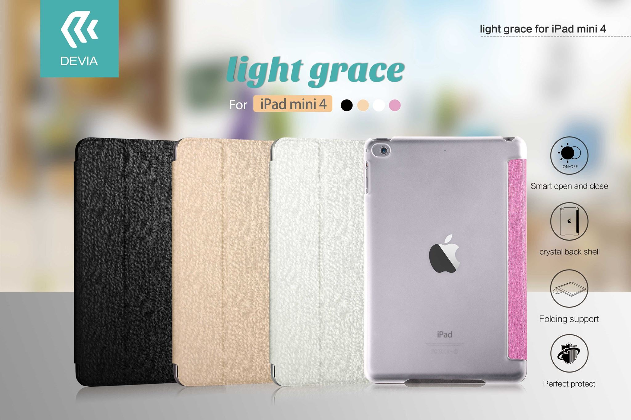 Cover Devia Per iPad Mini 4 con funzione On/Off Bianca