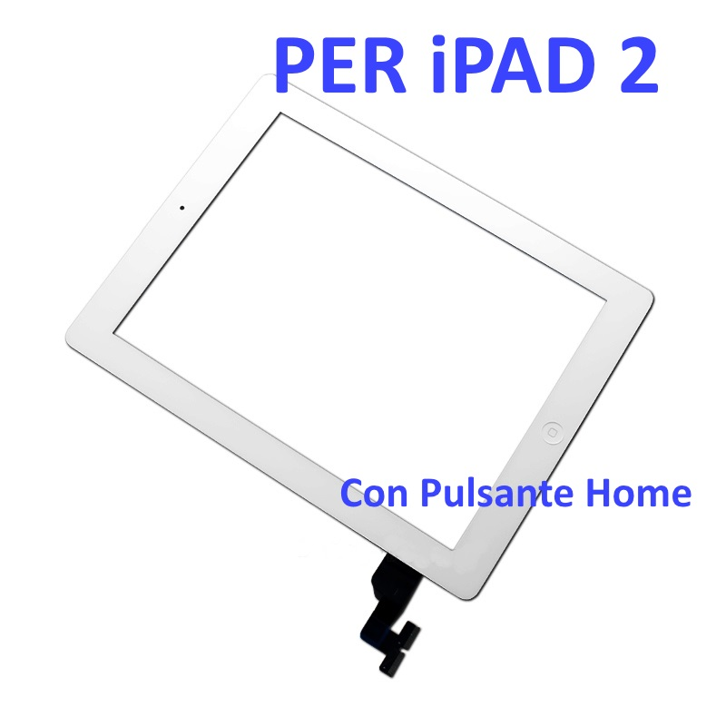 Touch Screen con Pulsante Home e Adesivo per iPad 2 Bianco