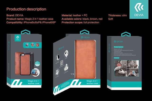 Custodia Libro Portadoc Pelle per iPhone 6/6S PLUS Marrone
